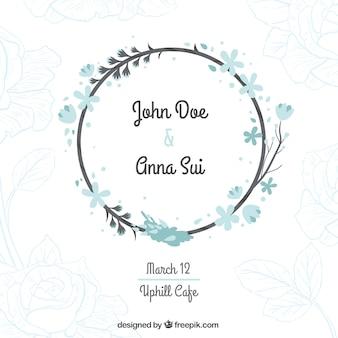 Hochzeit-Karte mit einem Blumenkranz