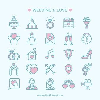 Hochzeit und Liebe Icons