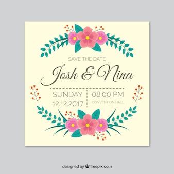 Hochzeitseinladung mit Blättern und Blumen