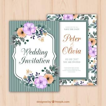 Hochzeitseinladung mit Blumen im Retro Art