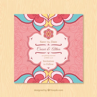 Hochzeitseinladung mit Blumen-Mandala