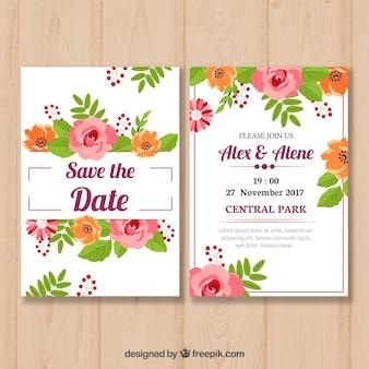 Hochzeitseinladung mit verschiedenen Blumen