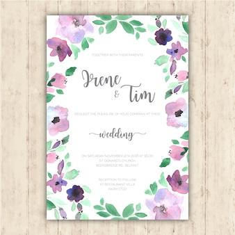 Hochzeitseinladung mit zarten handbemalten Blumen