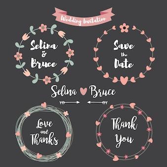 Hochzeitseinladungskarte. Set von Blumenrahmen für Dankeschön, Hochzeitseinladungen, Geburtstagskarten, kalligraphische Buchstaben, Emblem und Etikett. Tafel Stil Hochzeit Design-Elemente.