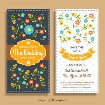 Hochzeitseinladungsschablone mit farbigen Blumen