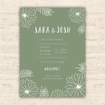 Hochzeitseinladungsschablone mit Hand gezeichneten Blumen
