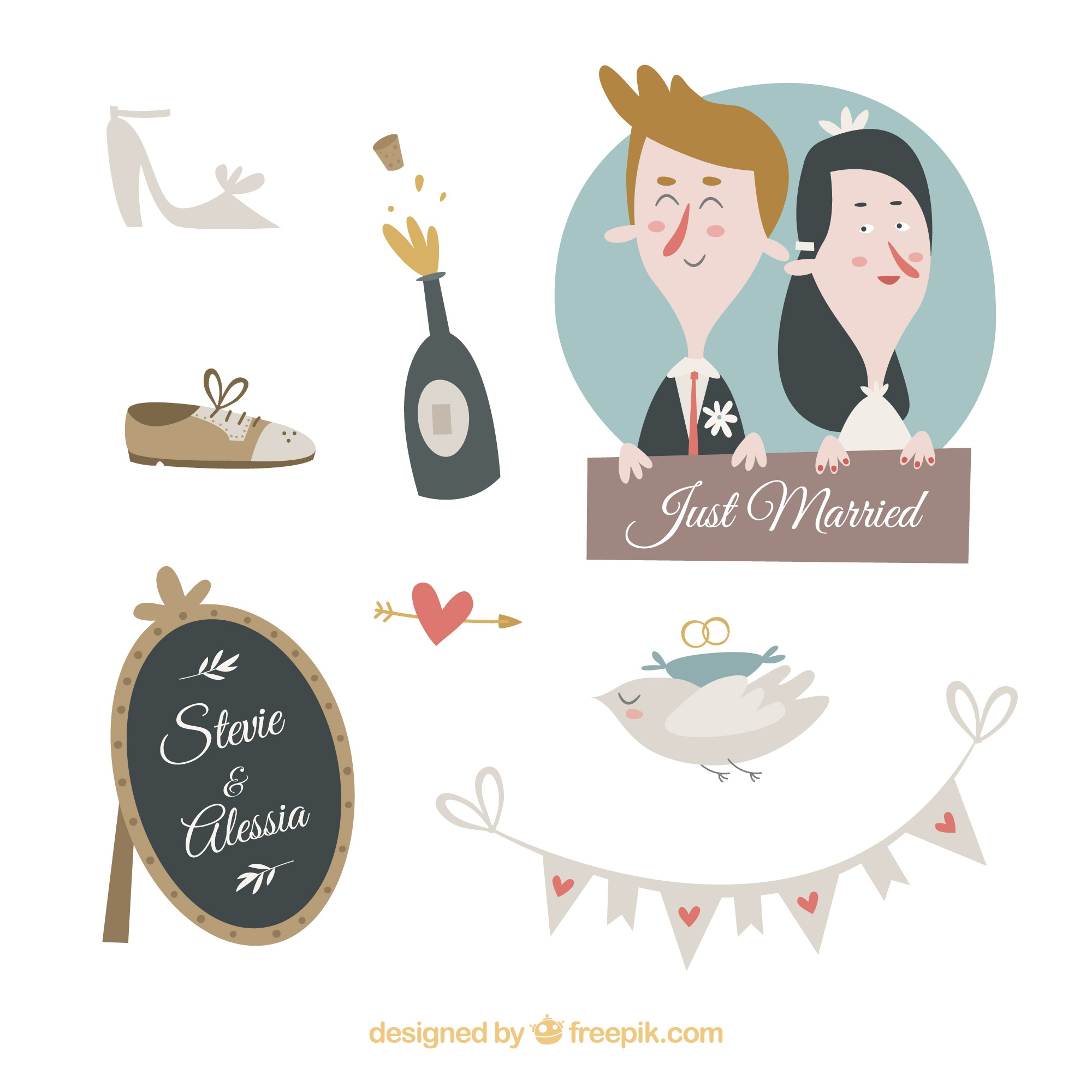Hochzeitselemente Cartoon-Design-Kollektion