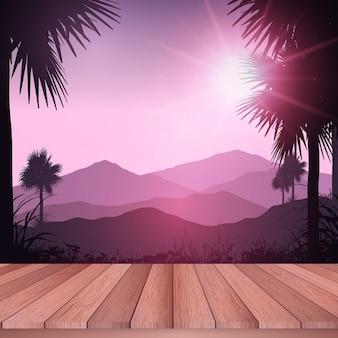 Holzterrasse aus zu einer tropischen Landschaft suchen
