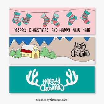 Horizontale Weihnachten Aufkleber Set