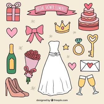 Hübsche Accessoires bereit für Brautdusche