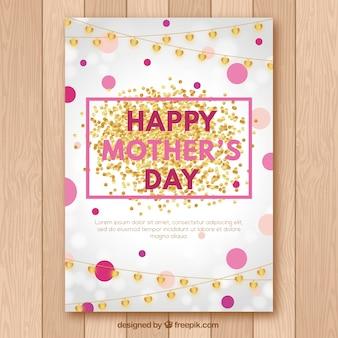 Hübsche Grußkarte mit Girlanden und Kreisen für den Tag der Mutter
