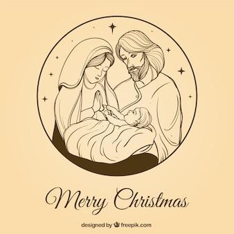 Hübsche Hand gezeichnet Weihnachtskrippe Hintergrund