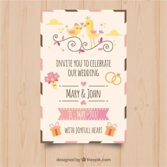 Hübsche Hochzeitseinladung mit dekorativen Einzelteilen