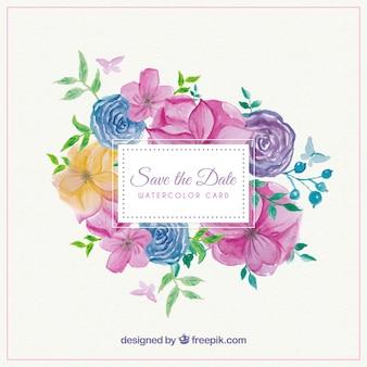 Hübsche Hochzeitseinladungskarte mit farbigen Blumen