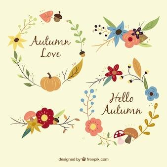 Hübsche Vintage Blumenkränze des Herbstes