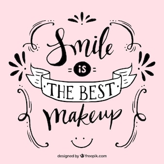 """Hübsche Vintage Schriftzug """"Lächeln ist das beste Make-up"""""""