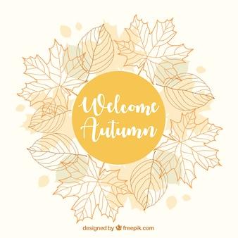Hübscher Herbst Hintergrund mit einem floralen Rahmen