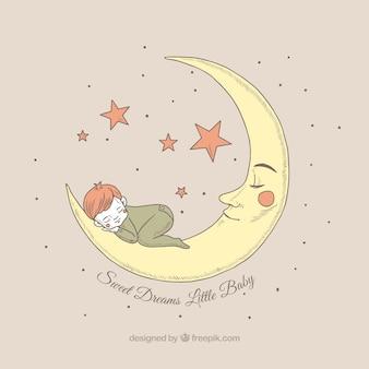 Hübscher Hintergrund des Jungen, der auf dem Mond schläft