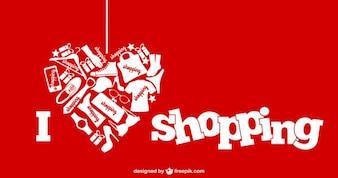 I love shopping Vektor-Illustration