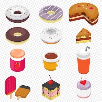 Illustration der Dessert-Grafik in isometrischen 3D-Grafik