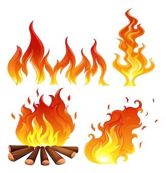 Illustration der Reihe von Flammen auf einem weißen Hintergrund