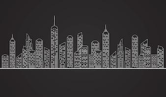 Illustration der Stadt-Wolkenkratzer in White.Vector Hintergrund der Stadtlandschaft