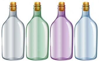 Illustration der vier Glasflaschen auf einem weißen Hintergrund