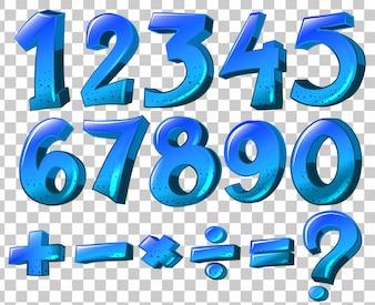 Illustration der Zahlen und Mathe-Symbole in blauer Farbe auf weißem Hintergrund