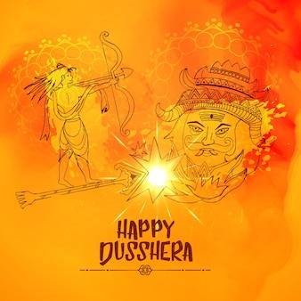 Illustration von Lord ram töten ravan in dussehra festival