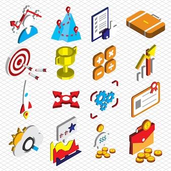 Illustration von seo Optimierung Symbole gesetzt Konzept in isometrischen Grafik