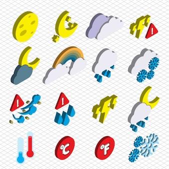 Illustration von Wetter-Icons gesetzt Konzept in isometrischen Grafik