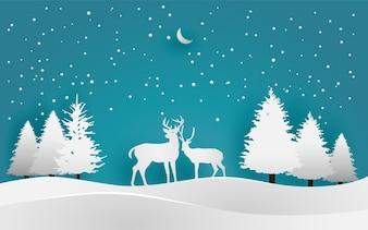 Illustrationen von Reh im Winter für Hintergründe, Poster oder Tapeten. Papierkunst Design