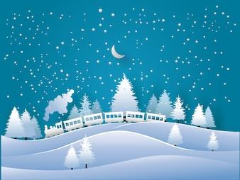 Illustrierter Kiefernwald und Dampfzug im Winter für Hintergründe, Poster oder Tapeten. Papierkunst Design