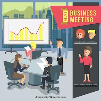 Im Business-Meeting-Szene in flachem Design