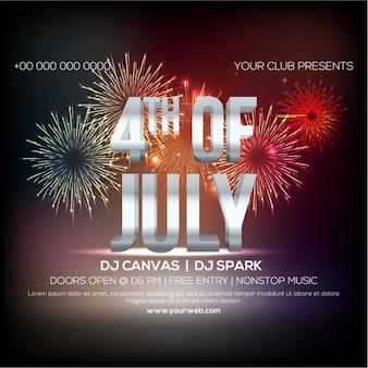 Independence Day Party Plakat mit Feuerwerk