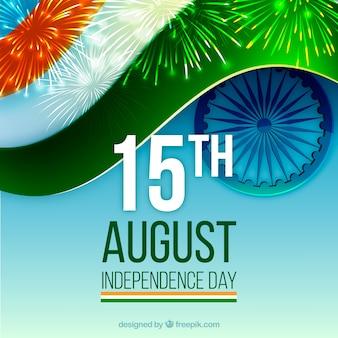 Indien Flagge Hintergrund mit Feuerwerk