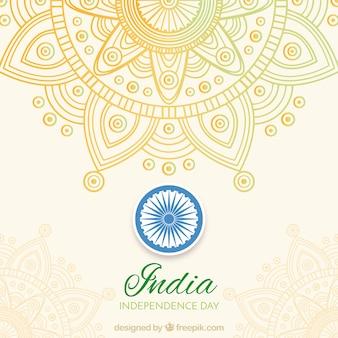 Indien Unabhängigkeit Hintergrund mit Mandala
