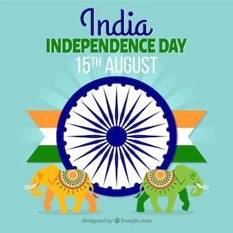 Indien Unabhängigkeit Tag Design mit Elefanten