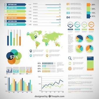 Infografik mit Vielzahl von Diagrammen