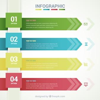 Infografik Vorlage mit Pfeilfahnen