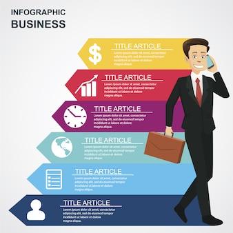 Infografisch mit geschäftigen Geschäftsmann Charakter