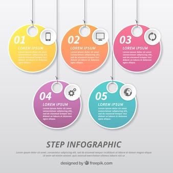 Infografische Vorlage mit Etikettengestaltung