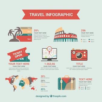 Infografische Vorlage mit Retro-Reise-Elementen in flachem Design