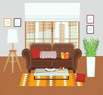 Innenraum eines Wohnzimmers.