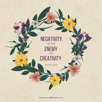 Inspirierend Zitat über Kreativität mit hübschen Blumenkranz