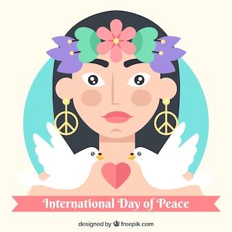 Internationaler Tag des Friedens, eine Frau, zwei Tauben und ein Herz