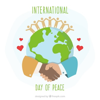 Internationaler Tag des Friedens, vereinigte Hände um die Welt