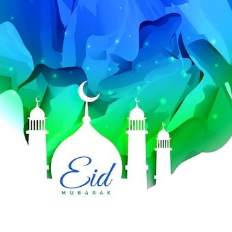 Islamische eid Festival Grußkarte Design mit abstrakten Hintergrund