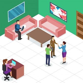 Isometrische Ansicht eines Arbeitsplatzes, Geschäftsleute colabration an der Rezeption. Geschäftskonzept.