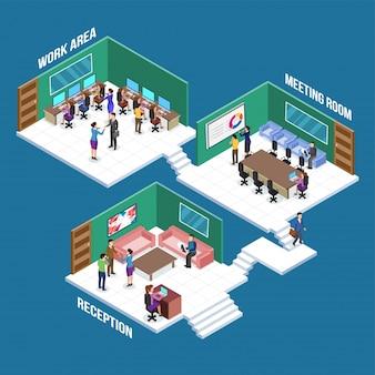 Isometrische Ansicht eines Arbeitsplatzes, Geschäftsleute Colabration an verschiedenen Arbeitsräumen wie Empfang, Tagungsraum und Arbeitsbereich. Geschäftskonzept.